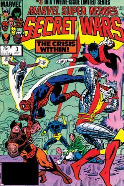 Secret Wars No.3 Cover: Colossus, Nightcrawler, Spider-Man, Wolverine, Storm, Cyclops and X-Men by Mike Zeck