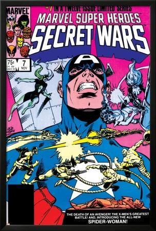 Secret Wars No.7 Cover: Captain America, Spider Woman, Doctor Octopus and Wolverine by Mike Zeck