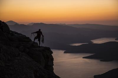 A Climber Looks Down on the Land Connecting Oman's Musandam Peninsula to the Arabian Mainland