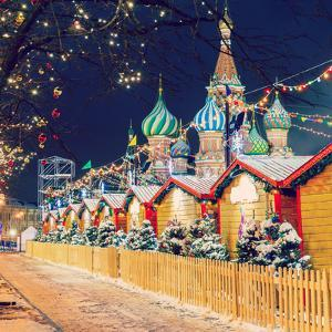 Decorations for New Year and Holidays. Christmas Balls on Tree Branches near to St. Basil's Cathedr by Mikhail St