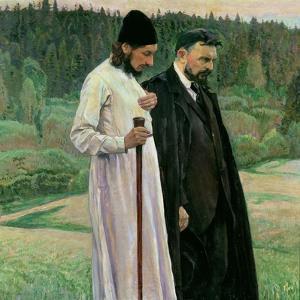 The Philosophers: Portrait of Sergei Nikolaevich Bulgakov and Pavel Aleksandrovich Florensky, 1917 by Mikhail Vasilievich Nesterov