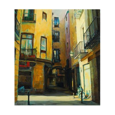 Court Yard in Gothic Quarter of Barcelona, Painting, Illustratio by Mikhail Zahranichny
