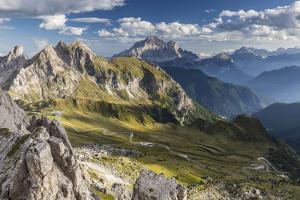Europe, Italy, Alps, Dolomites, Mountains, Passo Giau, View from Rifugio Nuvolau by Mikolaj Gospodarek