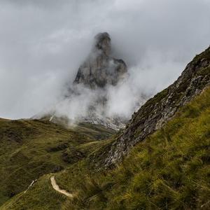 Europe, Italy, Alps, Dolomites, Mountains, Veneto, Belluno, Giau Pass - La Gusela by Mikolaj Gospodarek