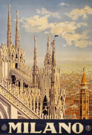 Milano Italy Travel Vintage Ad Poster Print