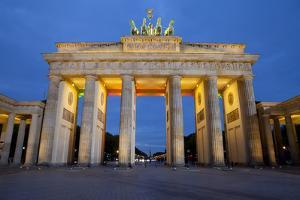 Brandenburg Gate at Night, Berlin, Germany, Europe by Miles Ertman