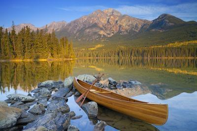 Canoe at Pyramid Lake with Pyramid Mountain in the Background
