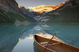 Canoe on Lake Louise at Sunrise by Miles Ertman