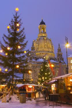 Christmas Market in the Neumarkt with the Frauenkirche (Church) in the Background by Miles Ertman