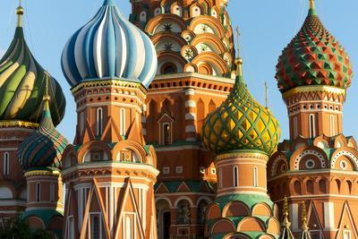 Close-up of the domes of St. Basil's Cathedral, UNESCO World Heritage Site, Moscow, Russia, Europe