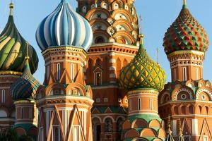 Close-up of the domes of St. Basil's Cathedral, UNESCO World Heritage Site, Moscow, Russia, Europe by Miles Ertman