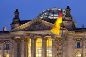 Close-Up of the Reichstag at Night, Berlin, Germany, Europe by Miles Ertman