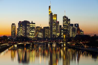 Frankfurt Skyline at Dusk, Frankfurt, Hesse, Germany, Europe by Miles Ertman