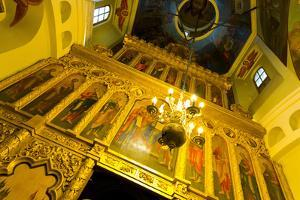 Iconostasis inside St. Basil's Cathedral, Moscow, Russia, Europe by Miles Ertman