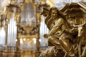 Interior Detail of the Cathedral of St. Stephan, Passau, Bavaria, Germany, Europe by Miles Ertman