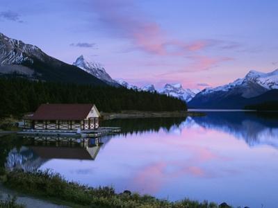 Maligne Lake at Dusk, Jasper National Park, Alberta, Canada by Miles Ertman