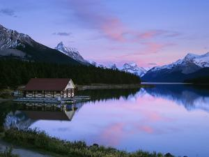 Maligne Lake at Dusk, Jasper National Park, Alberta, Canada by Miles Ertman
