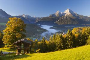 Overview of Berchtesgaden in Autumn with the Watzmann Mountain in the Background by Miles Ertman