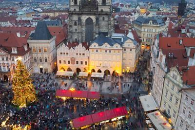 Overview of the Christmas Market and the Church of Our Lady of Tyn on the Old Town Square by Miles Ertman