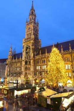 Overview of the Marienplatz Christmas Market and the New Town Hall, Munich, Bavaria, Germany by Miles Ertman