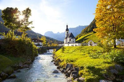 Ramsau Church in Autumn, Ramsau, Near Berchtesgaden, Bavaria, Germany, Europe