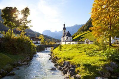 Ramsau Church in Autumn, Ramsau, Near Berchtesgaden, Bavaria, Germany, Europe by Miles Ertman
