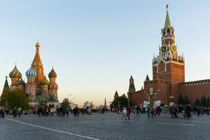 Red Square, St. Basil's Cathedral and the Savior's Tower of the Kremlin, UNESCO World Heritage Site by Miles Ertman