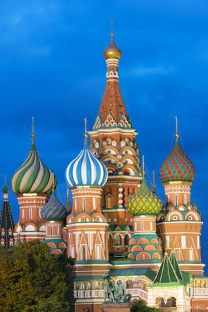 St. Basil's Cathedral lit up at night, UNESCO World Heritage Site, Moscow, Russia, Europe by Miles Ertman