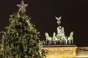 The Brandenburg Gate and Christmas Tree, Berlin, Germany, Europe by Miles Ertman
