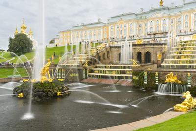The Grand Cascade in front of the Grand Palace, Peterhof, UNESCO World Heritage Site, near St. Pete by Miles Ertman
