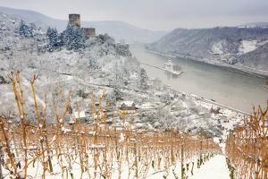 The Rhine River, Pfalz Castle and Gutenfels Castle in Winter, Rheinland-Pfalz, Germany, Europe by Miles Ertman