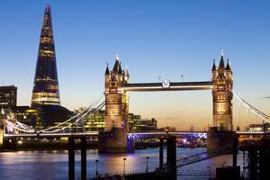 The Shard and Tower Bridge at Night, London, England, United Kingdom, Europe by Miles Ertman