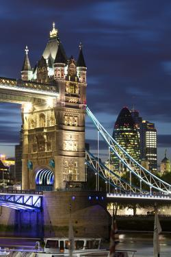 Tower Bridge and the Financial District at Night, London, England, United Kingdom, Europe by Miles Ertman