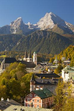View of Berchtesgaden in Autumn with the Watzmann Mountain in the Background by Miles Ertman
