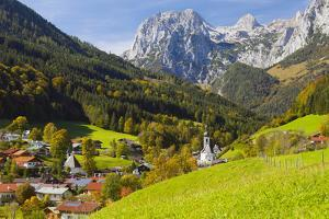 View of Ramsau in Autumn, Near Berchtesgaden, Bavaria, Germany, Europe by Miles Ertman