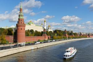 View of the Kremlin, UNESCO World Heritage Site, on the banks of the Moscow River, Moscow, Russia, by Miles Ertman