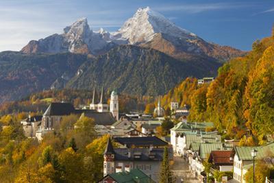 View over Berchtesgaden and the Watzmann Mountain, Berchtesgaden, Bavaria, Germany, Europe by Miles Ertman