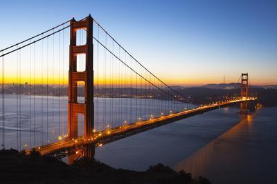 Golden Gate Bridge and San Francisco Skyline at Dawn