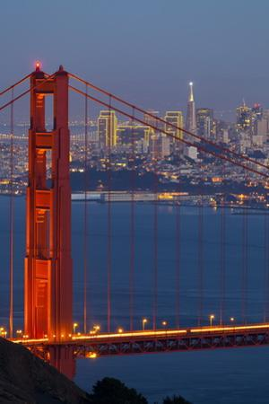 The Golden Gate Bridge and San Francisco Skyline at Night by Miles