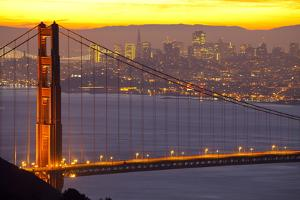 The Golden Gate Bridge and San Francisco Skyline at Sunrise by Miles