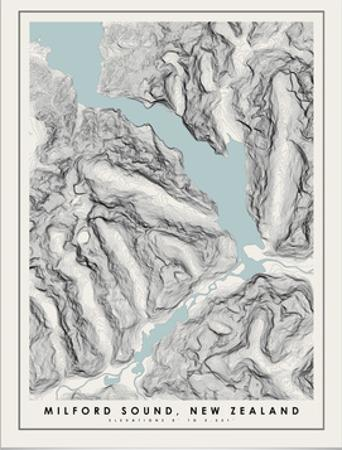Milford Sound Topographical Print