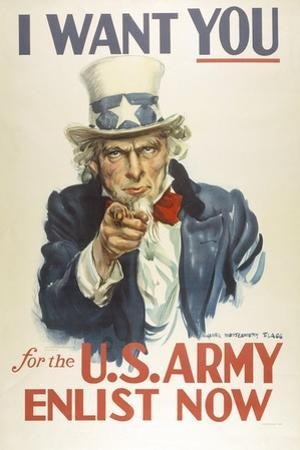 Military and War Posters: I Want YOU for the U.S. Army. James Montgomery Flagg