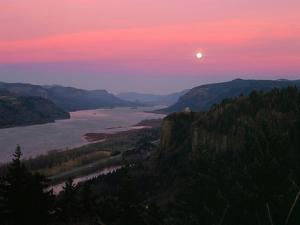 Millenium Moon over Crown Point, Portland Women's Forum State Park, Columbia River Gorge Nationa...