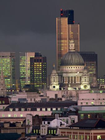 City Skyline Illuminated at Night, London, England, UK