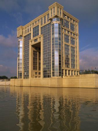 Modern Building, the Antigone Complex, Overlooking Water, Montpellier, Languedoc Roussillon, France