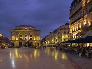 Pavement Cafes on the Place De La Comedie, Montpellier, Languedoc Roussillon, France by Miller John