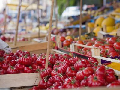 Tomatoes on Street Market Stall, Palermo, Sicily, Italy, Europe