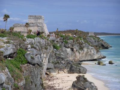 Tourists Visiting the Mayan Ruins of Tulum, Yucatan Peninsula, Mexico, North America