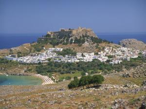 Town and Acropolis of Lindos Town, Rhodes, Dodecanese Islands, Greek Islands, Greece, Europe by Miller John