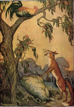 Fox and Rooster in Tree, 1919 by Milo Winter
